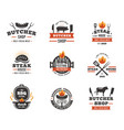 butcher and barbecue emblems set vector image vector image