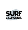 card with lettering surf california and wave in vector image
