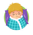 cartoon boy having cold and fever vector image