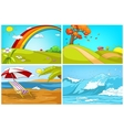 cartoon set of landscapes backgrounds vector image