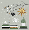 christmas card with christmas tree books stars vector image vector image