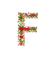 christmas floral tree letter F vector image vector image