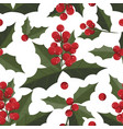 christmas holly leaves and berries ornate vector image vector image