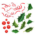 christmas holly leaves berries ribbon set vector image