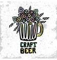 craft beer hand drawn poster vector image vector image