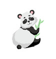 cute panda bear with bamboo happy lovely animal vector image