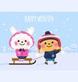 cute rabbits in winter happy winter card vector image vector image
