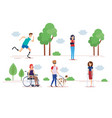 disabled people set design vector image