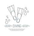 Diving icon with flippers and bubbles vector image vector image