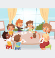 drawing art class teacher with kids creativity vector image