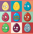 easter eggs emoji set cute funny emotional icons vector image vector image