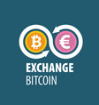 exchange bitcoin for money vector image vector image