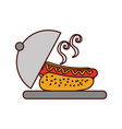 fast food hot dog sausage dish dinner vector image