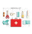 first-aid kit with necessary contents - medical vector image vector image