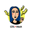 girl power movement doodle style girl portraits vector image vector image