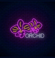 glowing neon orchid sign floral symbol with vector image