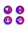 good mood avatar and three fingers icons set vector image vector image