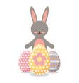 gray happy rabbit eggs ornament decoration vector image