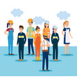 group of workers characters vector image vector image