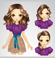 Hairstyle Girl In Cocktail Dress vector image