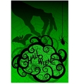 Halloween background with witches hand and frame vector image