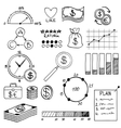 Hand draw doodle elements money and coin icon vector image