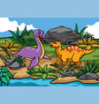 happy dinosaurs cartoon in the nature vector image vector image