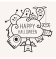 Happy Halloween countour outline doodle Ghost vector image vector image