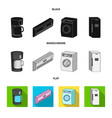 home appliances and equipment black flat vector image