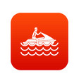 man on jet ski rides icon digital red vector image vector image