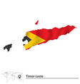Map of Timor-Leste with flag vector image