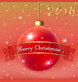 merry christmas decoration background with 3d red vector image vector image