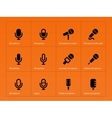 Microphone icons on orange background vector image vector image