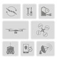 monochrome set with drone icons vector image