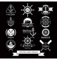 Nautical vessels vintage labels icons and design vector image