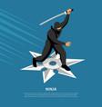 ninja warrior isometric poster vector image