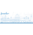 Outline Jerusalem Skyline with Blue Buildings vector image vector image