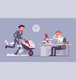overworked in the office vector image