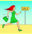 pop art background the girl is running for a sale vector image vector image