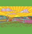pop art rural landscape sun sunrise morning vector image