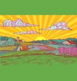 pop art rural landscape sun sunrise morning vector image vector image