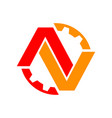 red orange av initials lettermark engineering vector image