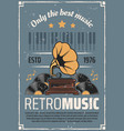 retro music vintage vinyl gramophone vector image