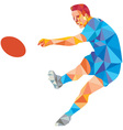 rugplayer kicking ball low polygon vector image