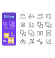 set editing simple lines icons tools vector image vector image