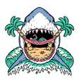 shark attack skull on beach vector image