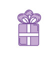 silhouette present gift with ribbon bow design vector image vector image