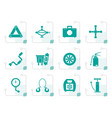 stylized car and transportation equipment icons vector image
