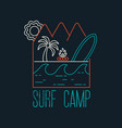 surf camp text quote with line art beach icons vector image vector image