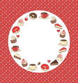 Sweets circle frame on red in dots vector image vector image